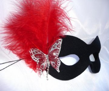 Red & Silver sparkle leather butterfly  mask